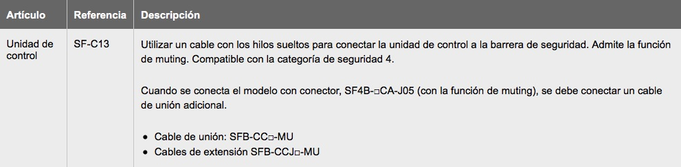 SF4B-C Barreras Seguridad PANASONIC ud control